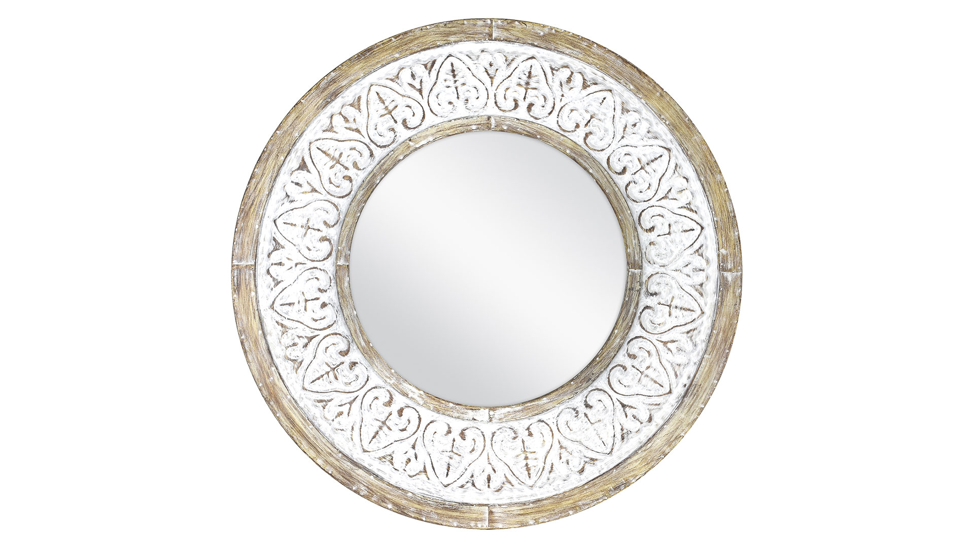 Distressed 26-Inch Round Wall Mirror in Rustic White