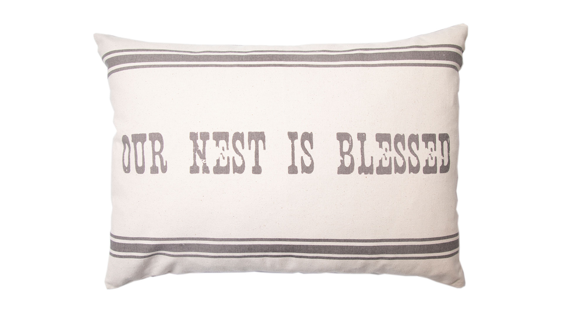 Our Nest is Blessed  Oblong Throw Pillow in Natural