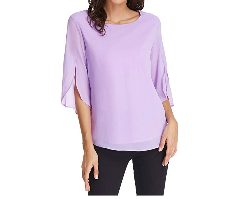 RX_1903 Amazon Spring Top_Chiffon Blouse with Ruffle Sleeve