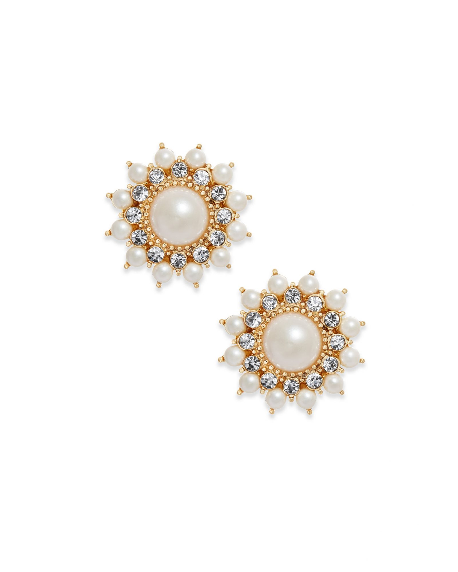 Charter Club Gold-Tone Imitation Pearl & Crystal Starburst Stud Earrings