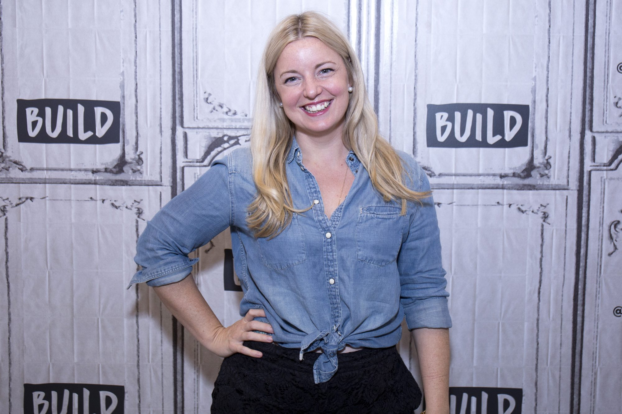 damaris phillips wearing blue denim shirt