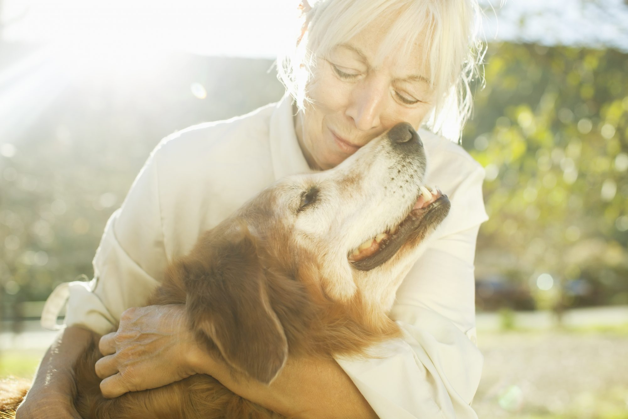 Woman with Older Dog