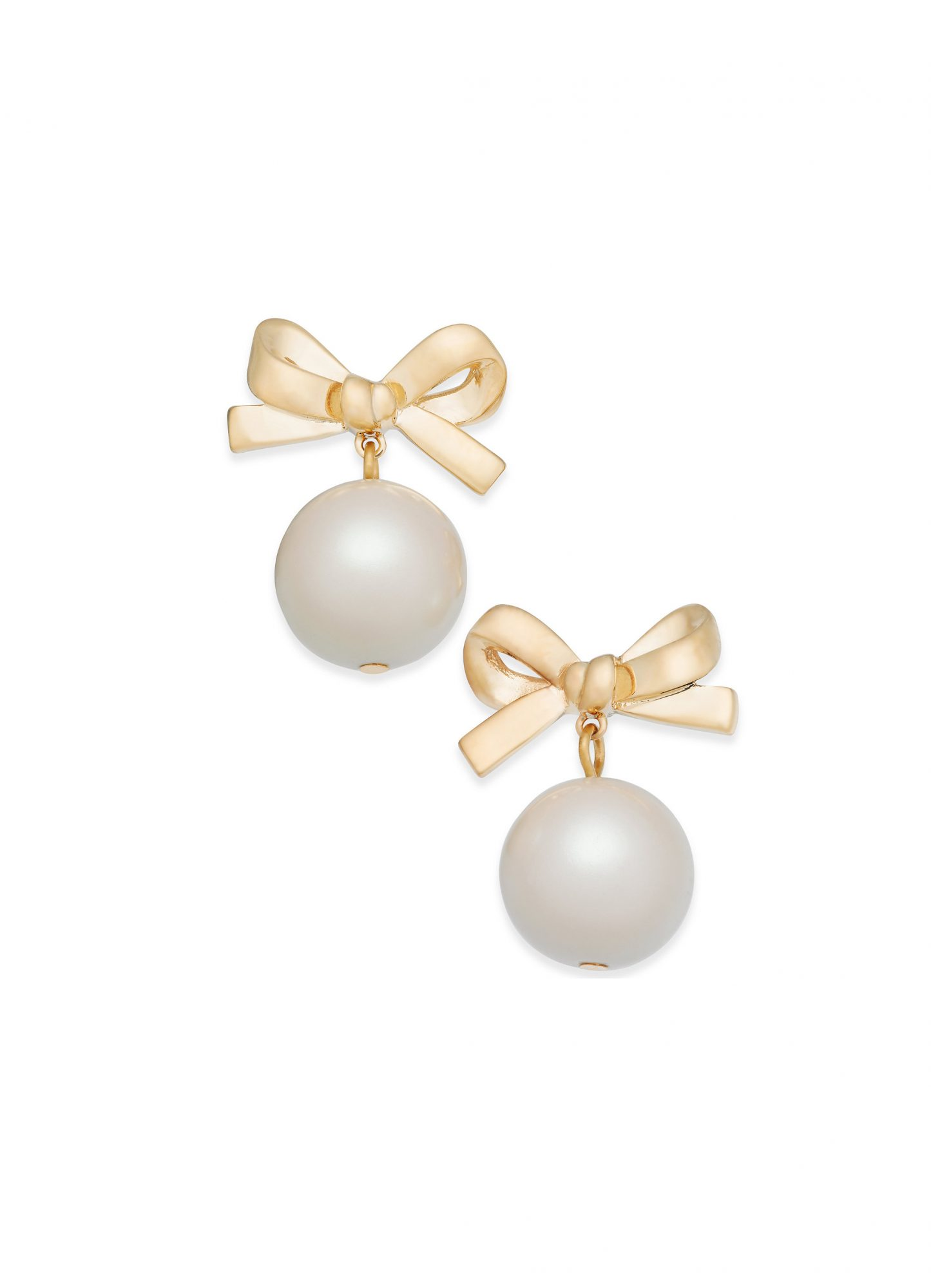 Kate Spade New York 14k Gold-Plated Imitation Pearl Bow Drop Earrings
