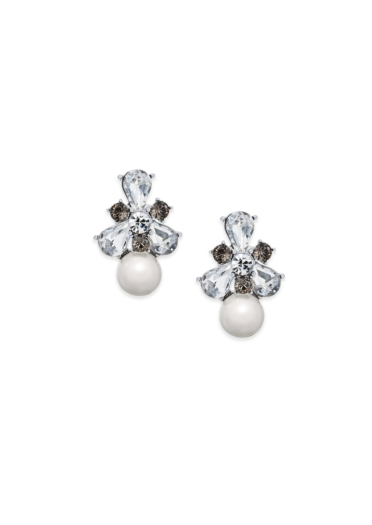 Charter Club Silver-Tone Crystal & Imitation Pearl Drop Earrings