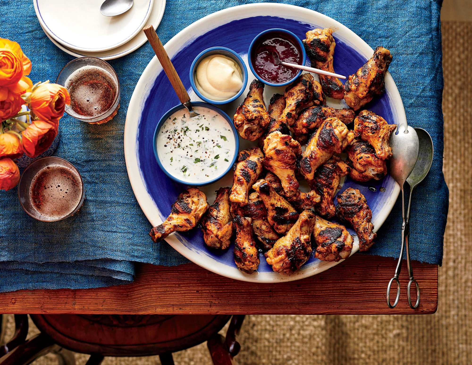 Brined Grilled Chicken with Dipping Sauces