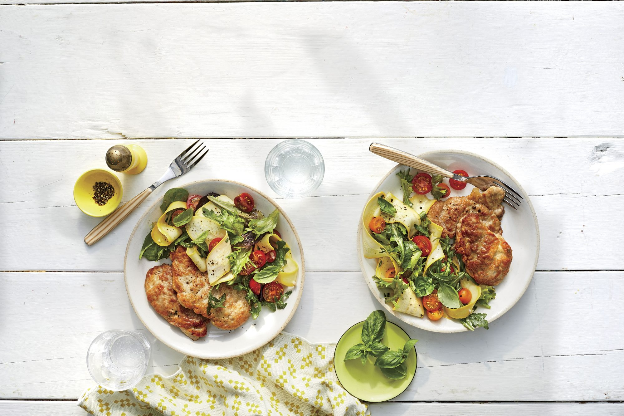 Pork Paillards with Lemony Squash Salad