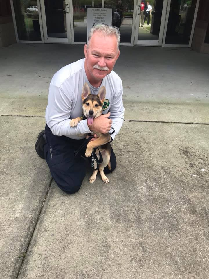 Charleston Firefighter Adopts Puppy