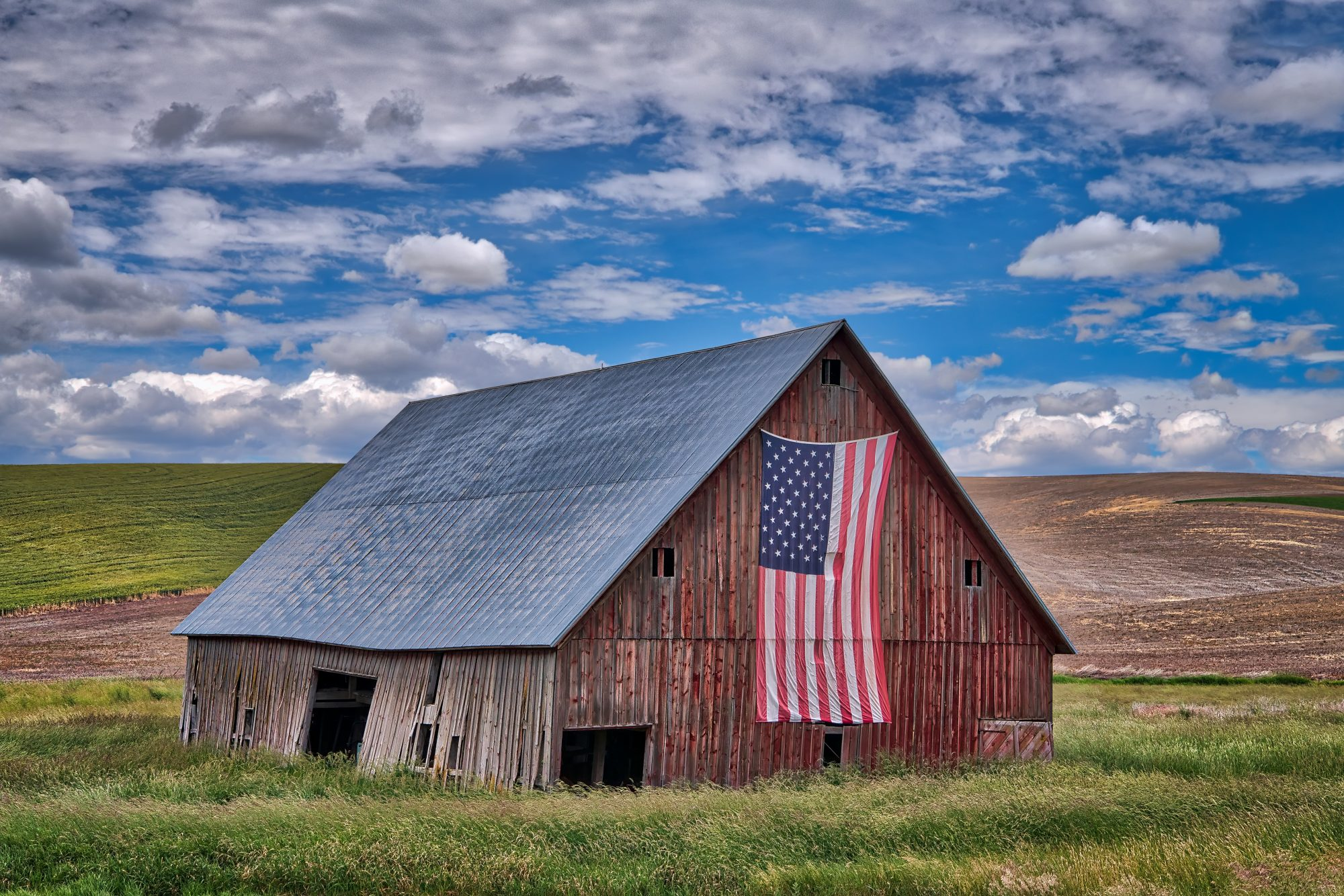 Farmhouse with American Flag