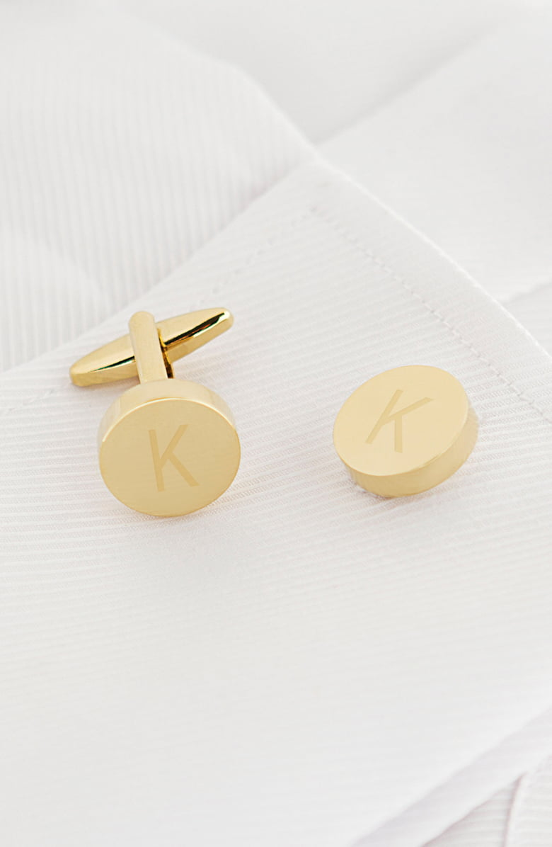 Cathy's Concepts Gold Monogram Round Cuff Links