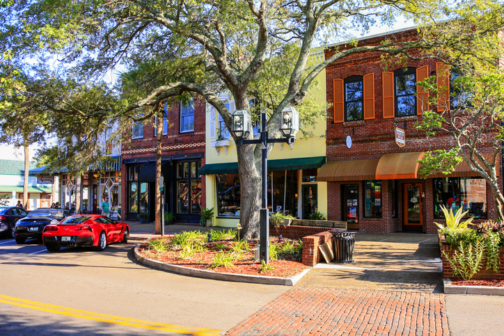 Stores on Centre Street in downtown Fernandina Beach City, Florida