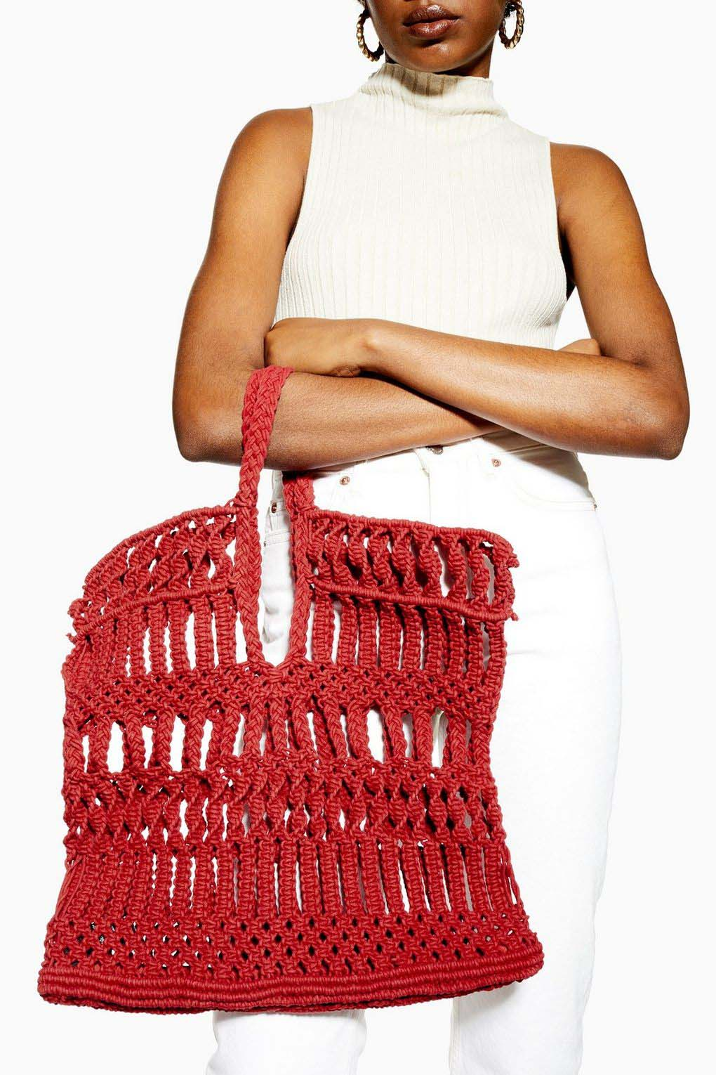 Red Woven Rope Bag
