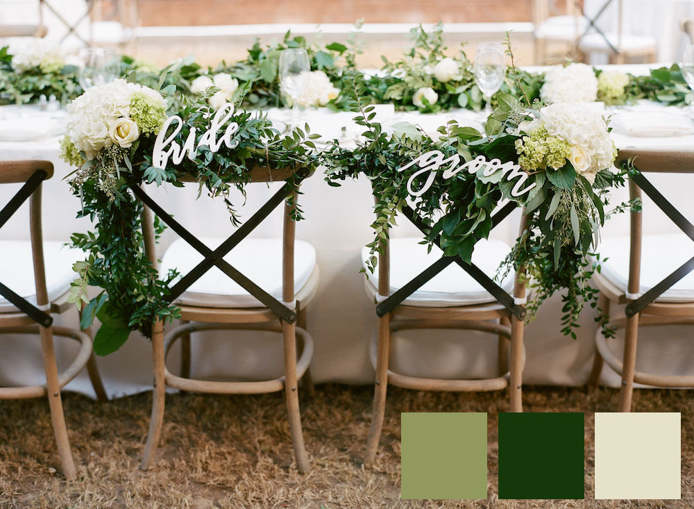 Bride and Groom Chairs with Greenery