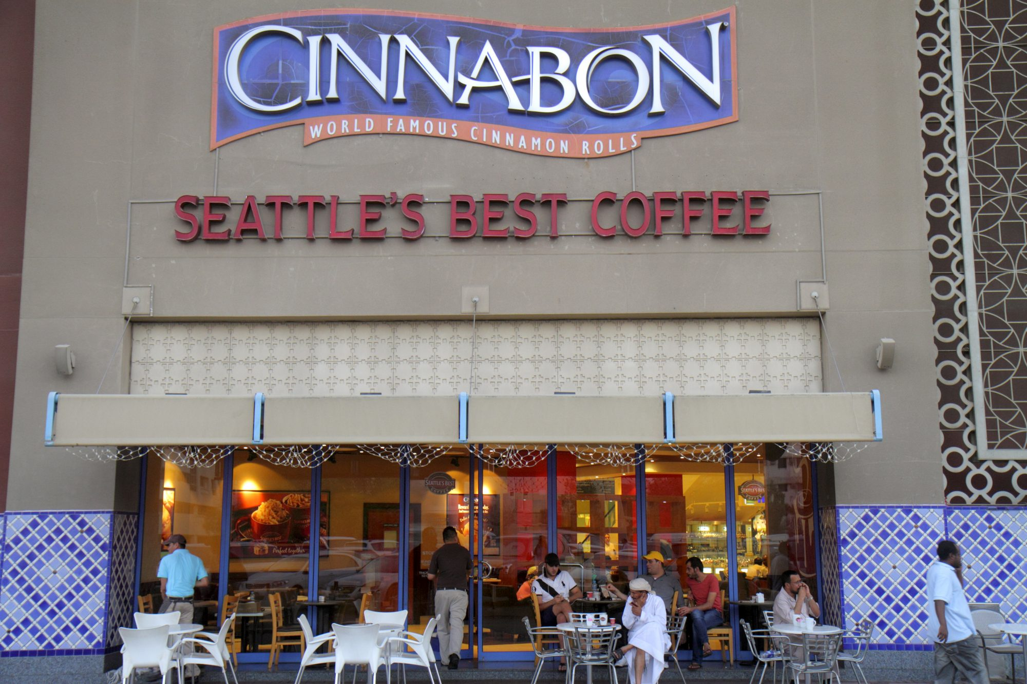 Dubai Deira Al Rigga Al Ghurair Centre shopping mall Bilingual Signs Cinnabon, Seattle's Best Coffee