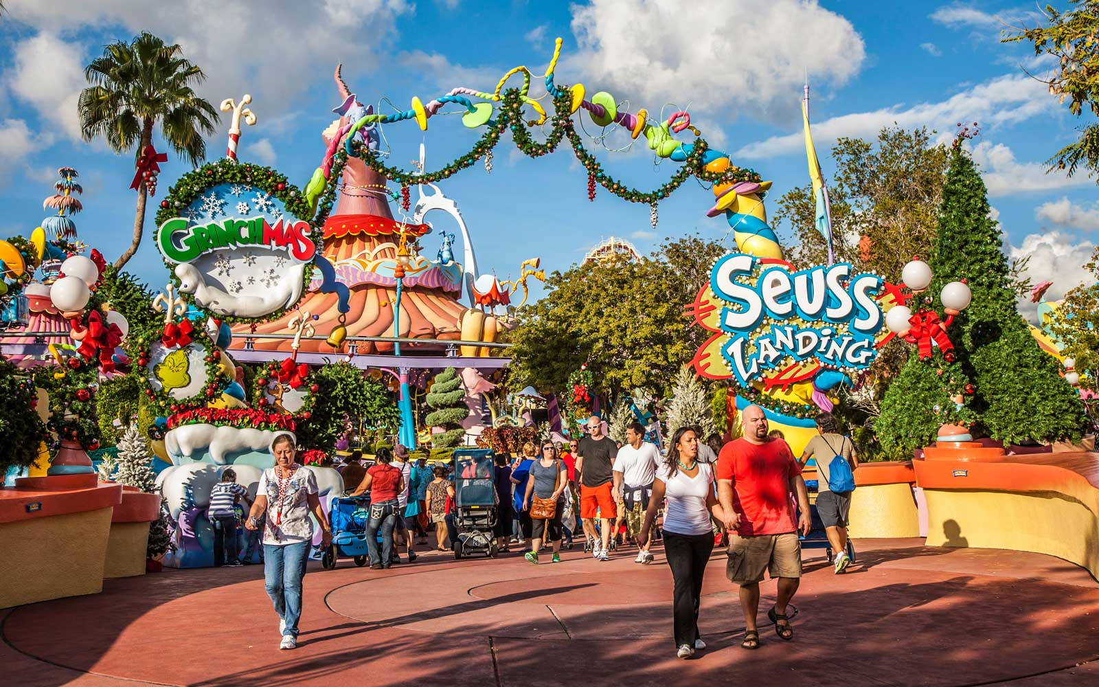 Park guests at entrance to Seuss Landing at Universal Studios Islands of Adventure in Orlando, Florida