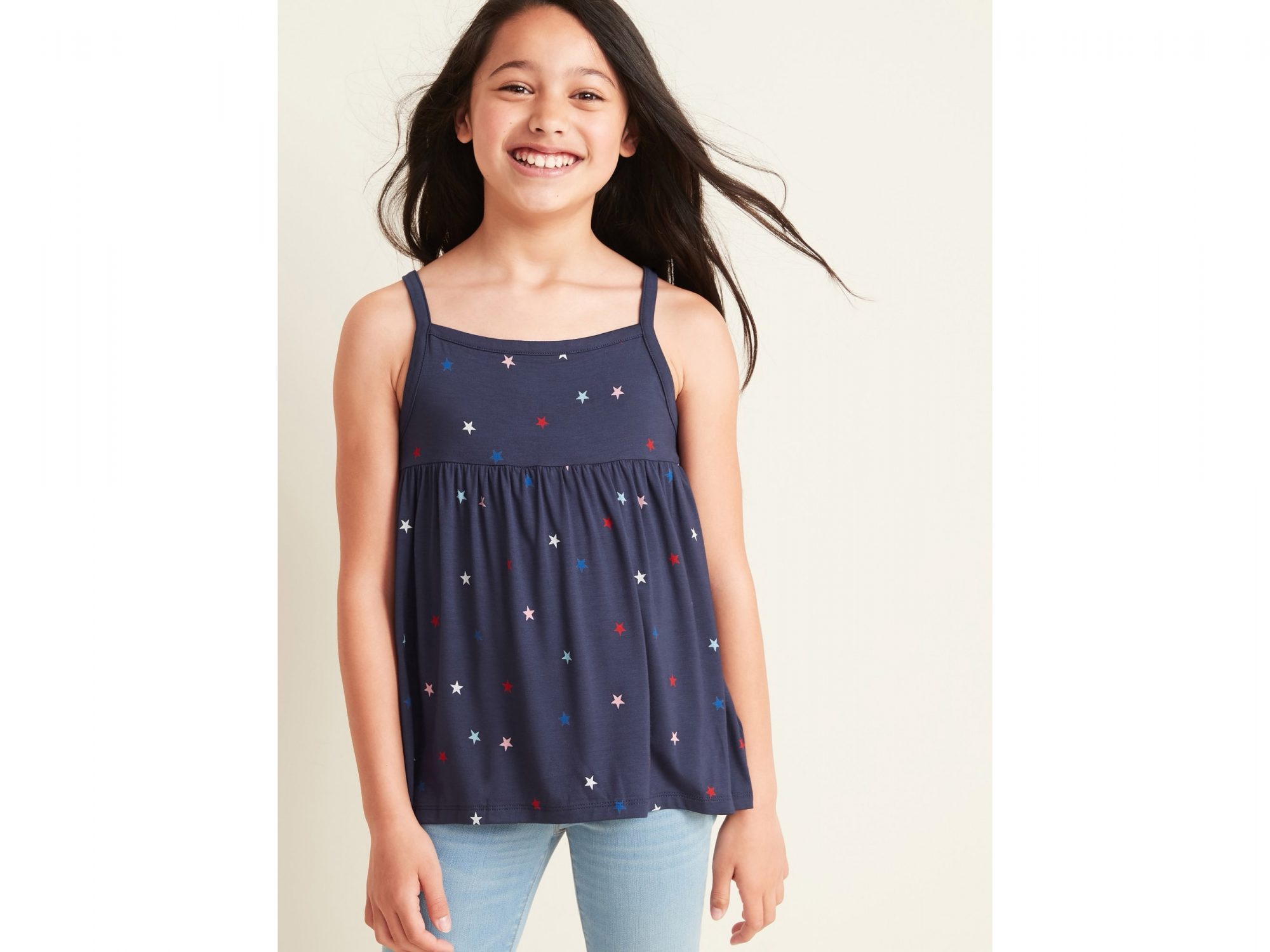 Patterned Jersey Sleeveless Top for Girls