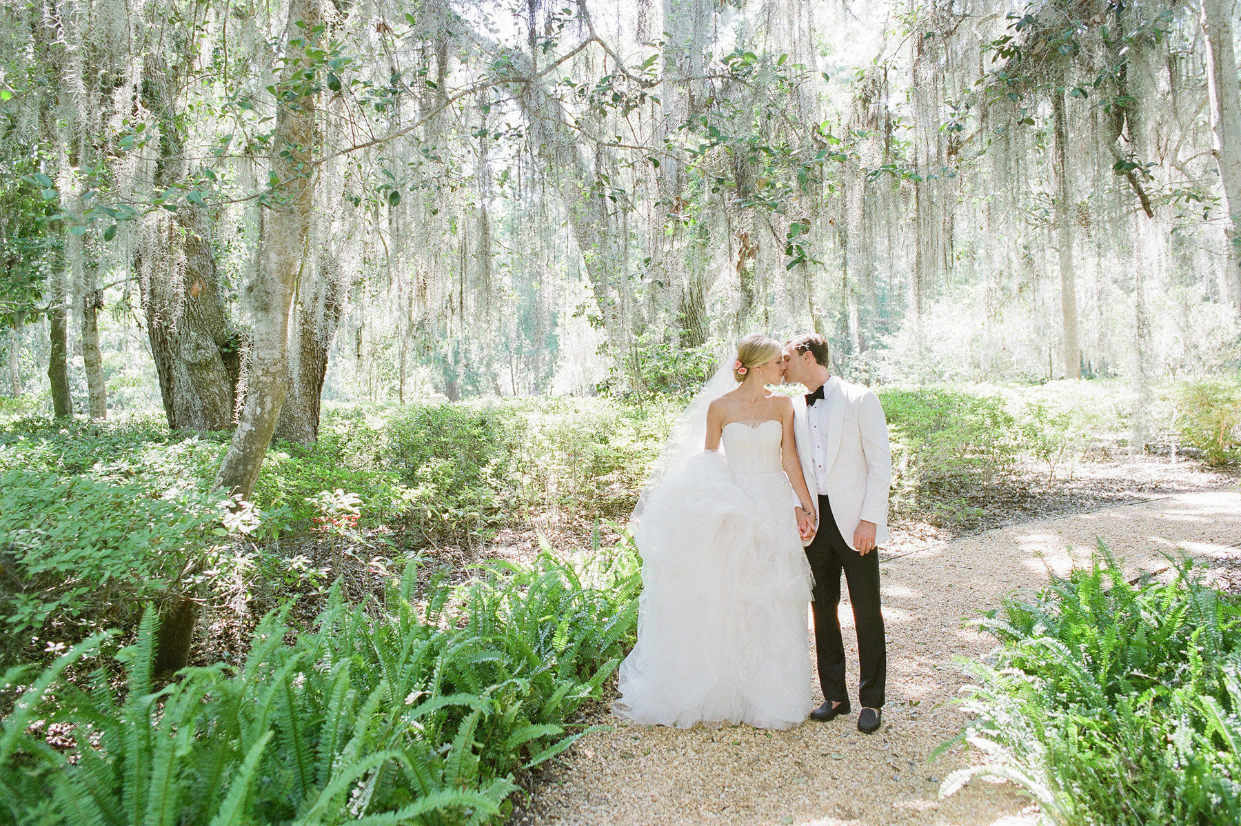Pink Charleston Wedding Trees Couple