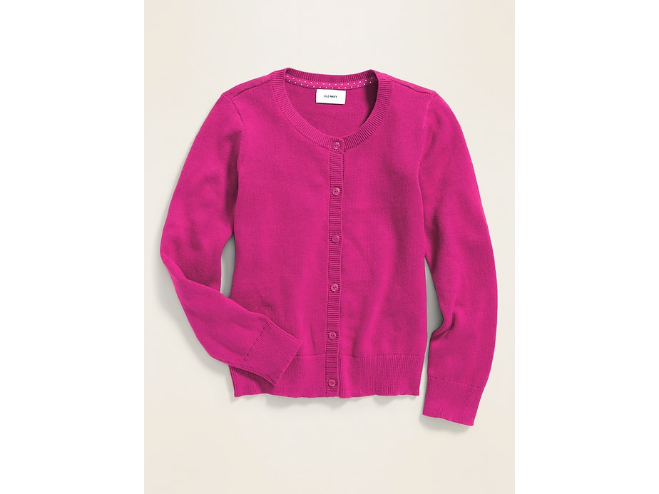 Crew-Neck Button-Front Cardi for Girls