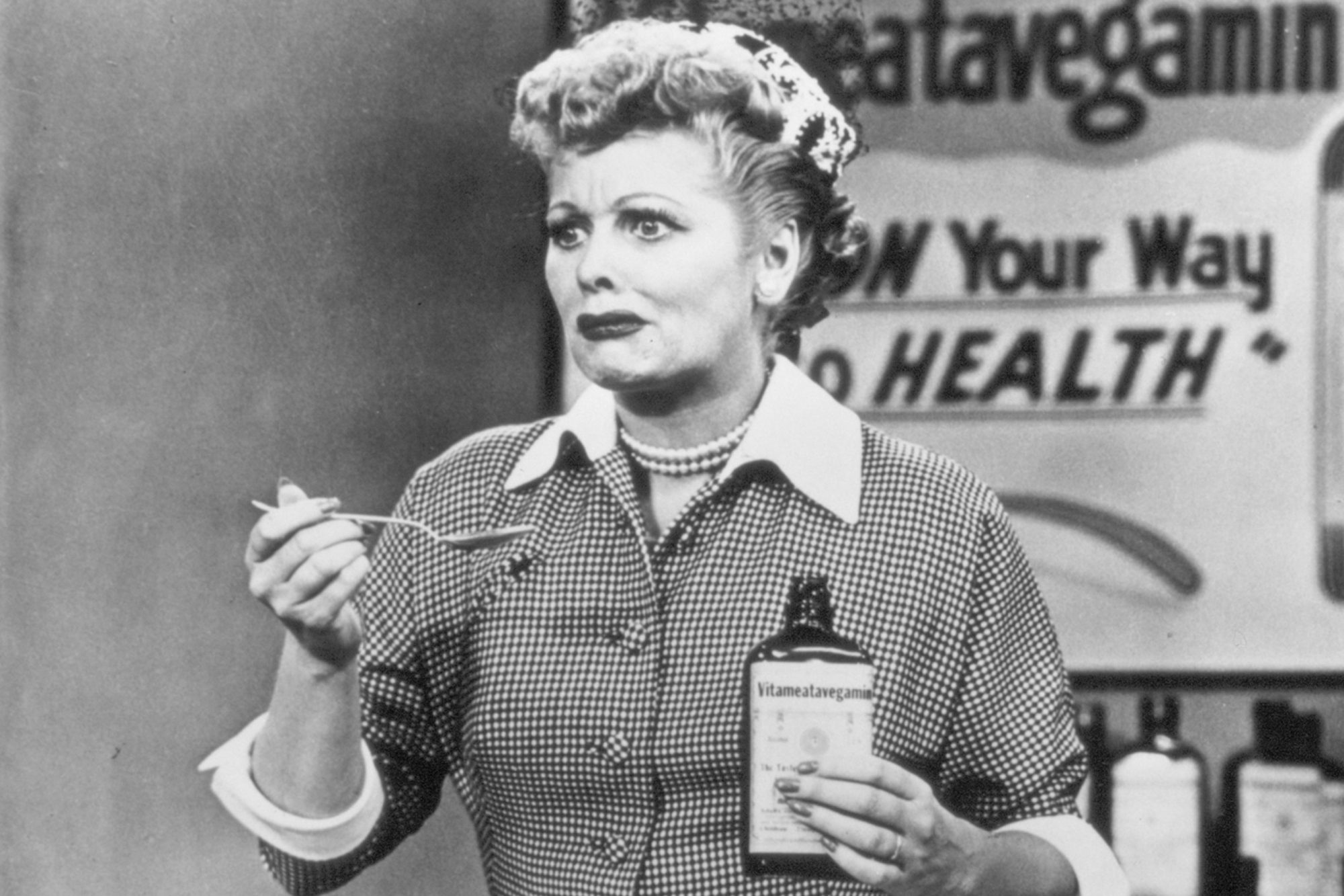 Still from the 1950s CBS television sitcom 'I Love Lucy,' episode 30, 'Lucy Does a Television Commercial' features American actress Lucille Ball (1911 - 1989) as she portrays Lucy Ricardo attempting to film an advertisement for Vitameatavegamin,...