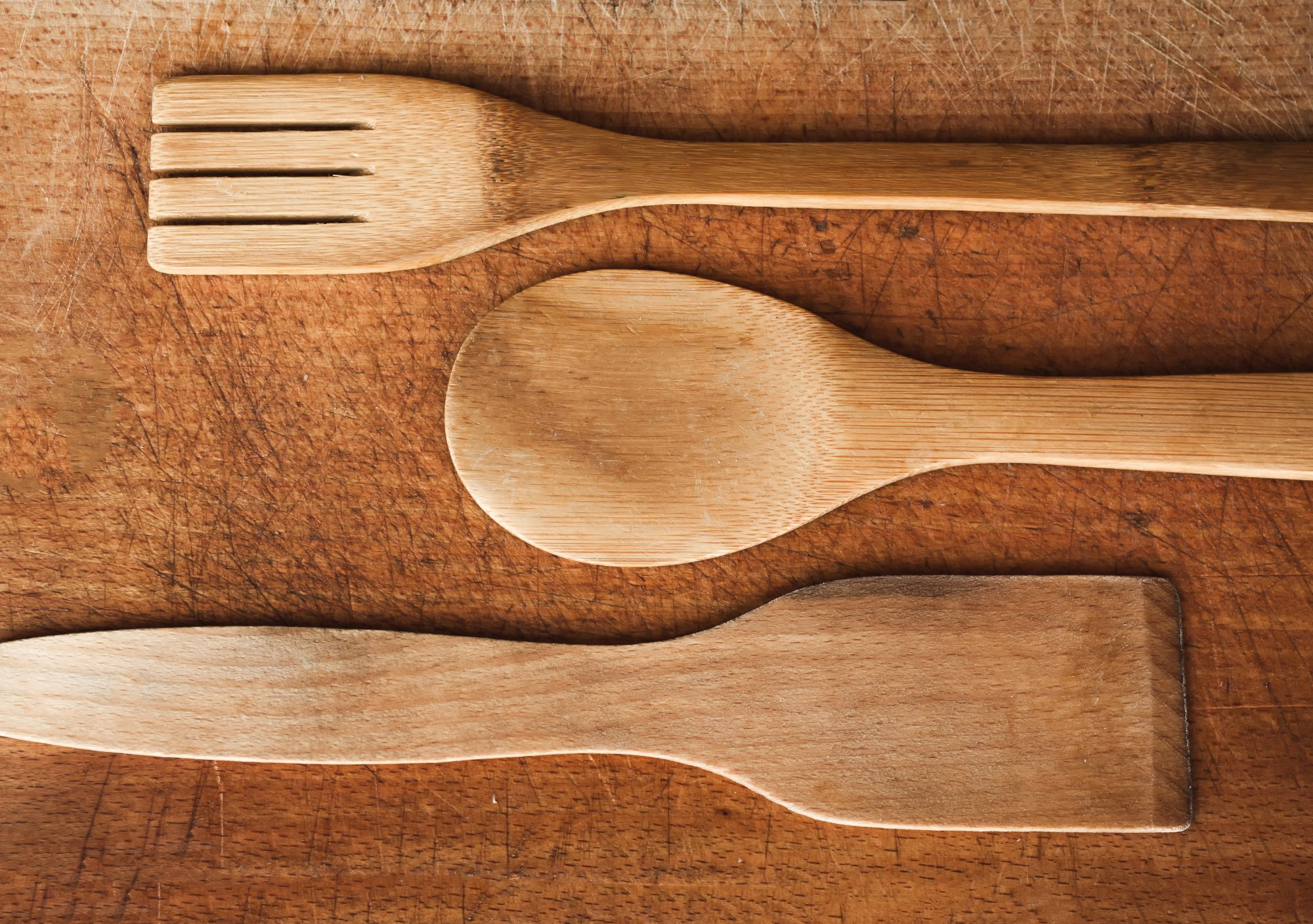 Wood Cutting Board and Spoons