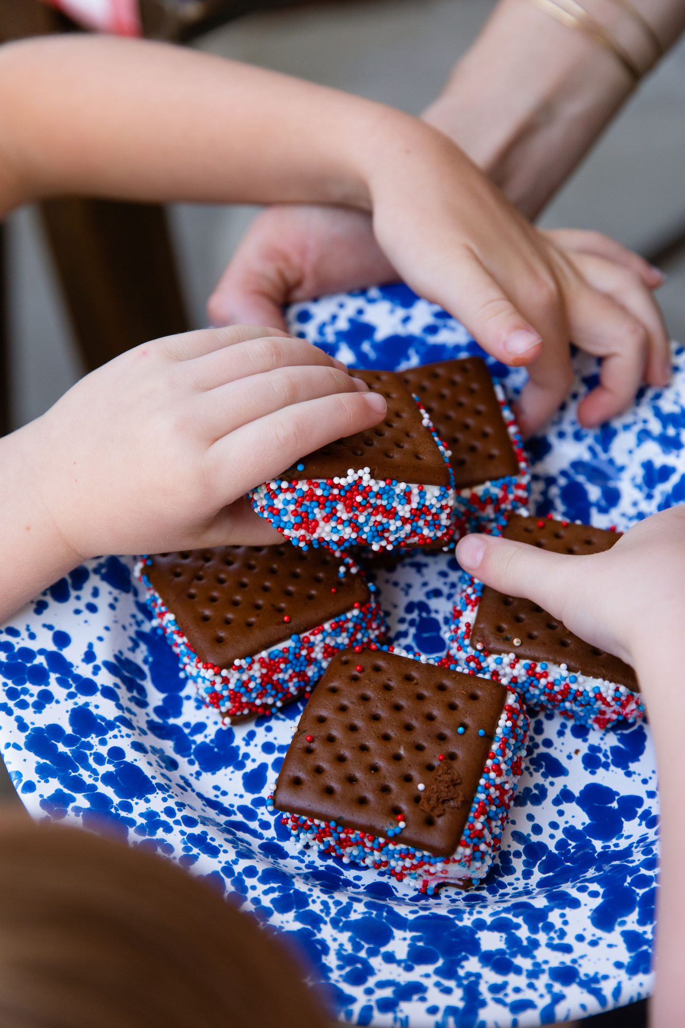 Katie Jacobs and Mary Huddleston 4th of July Party Ice Cream Sandwiches