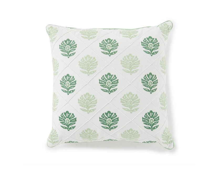 Southern Living Floral Embroidered Square Pillow in Green