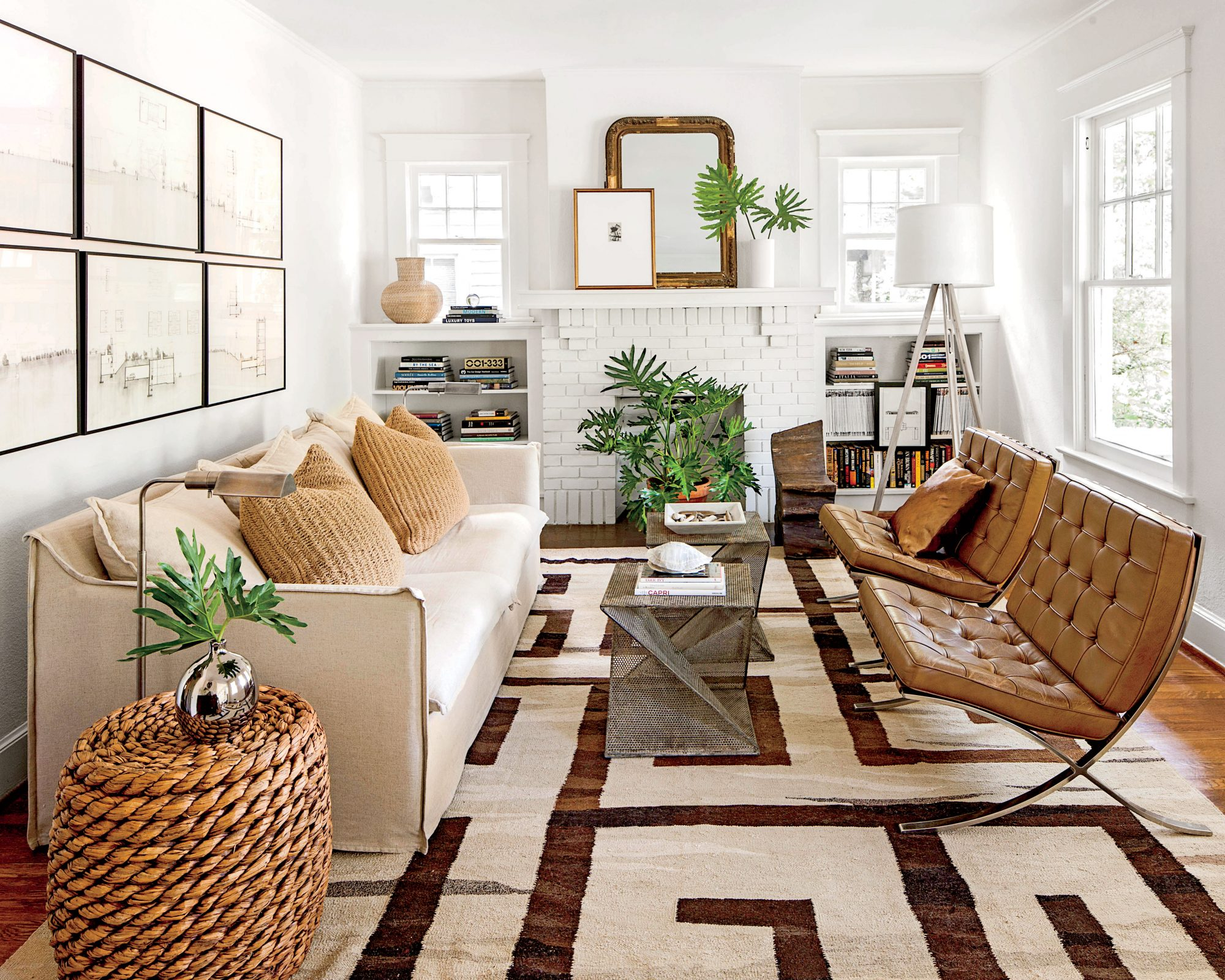 James Laughlin Birmingham Bungalow with White Walls and Meaningful Artwork