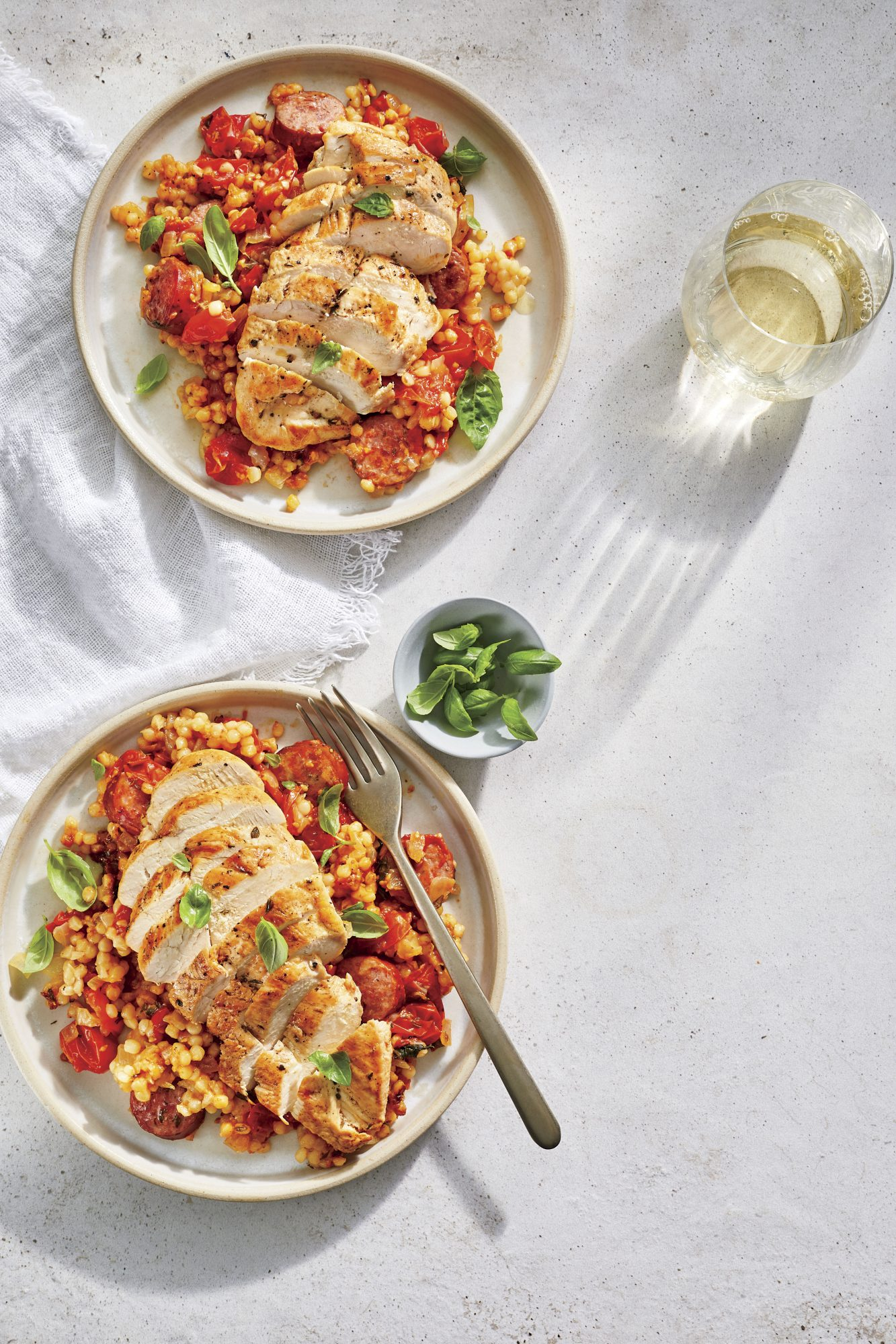 Tomato-Basil Couscous with Chicken and Smoked Sausage