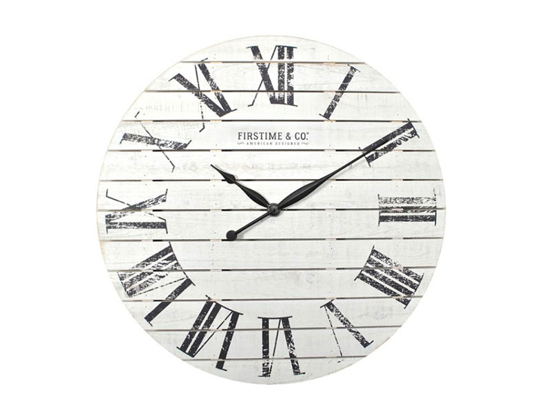 FirsTime & Co. Shiplap Wall Clock in White