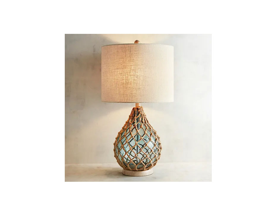 Rope & Sea Glass Table Lamp