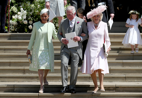 WINDSOR, UNITED KINGDOM - MAY 19: Doria Ragland, Prince Charles, Prince of Wales and Camilla, Duchess of Cornwall after the wedding of Prince Harry and Ms. Meghan Markle at St George's Chapel at Windsor Castle on May 19, 2018 in Windsor, England. (Phot...