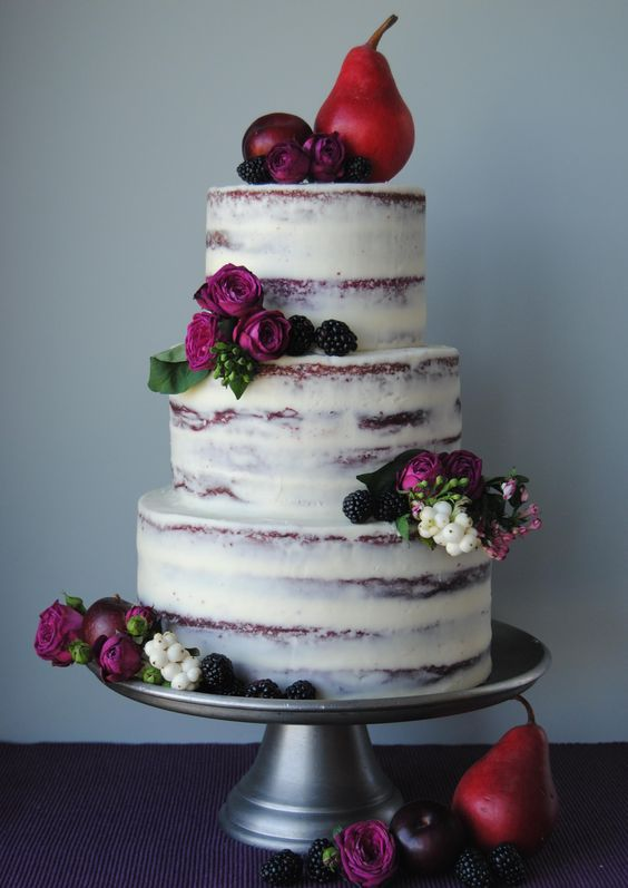 Fall Naked Cake with Berries