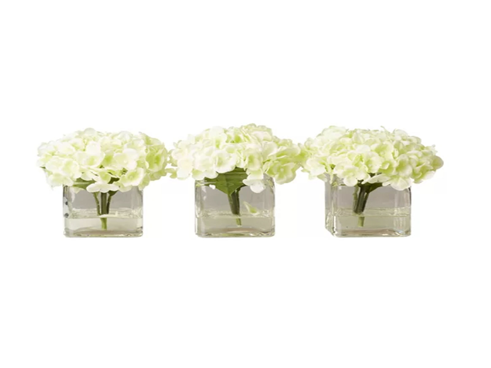 Faux Potted Mini Hydrangea Floral Arrangement