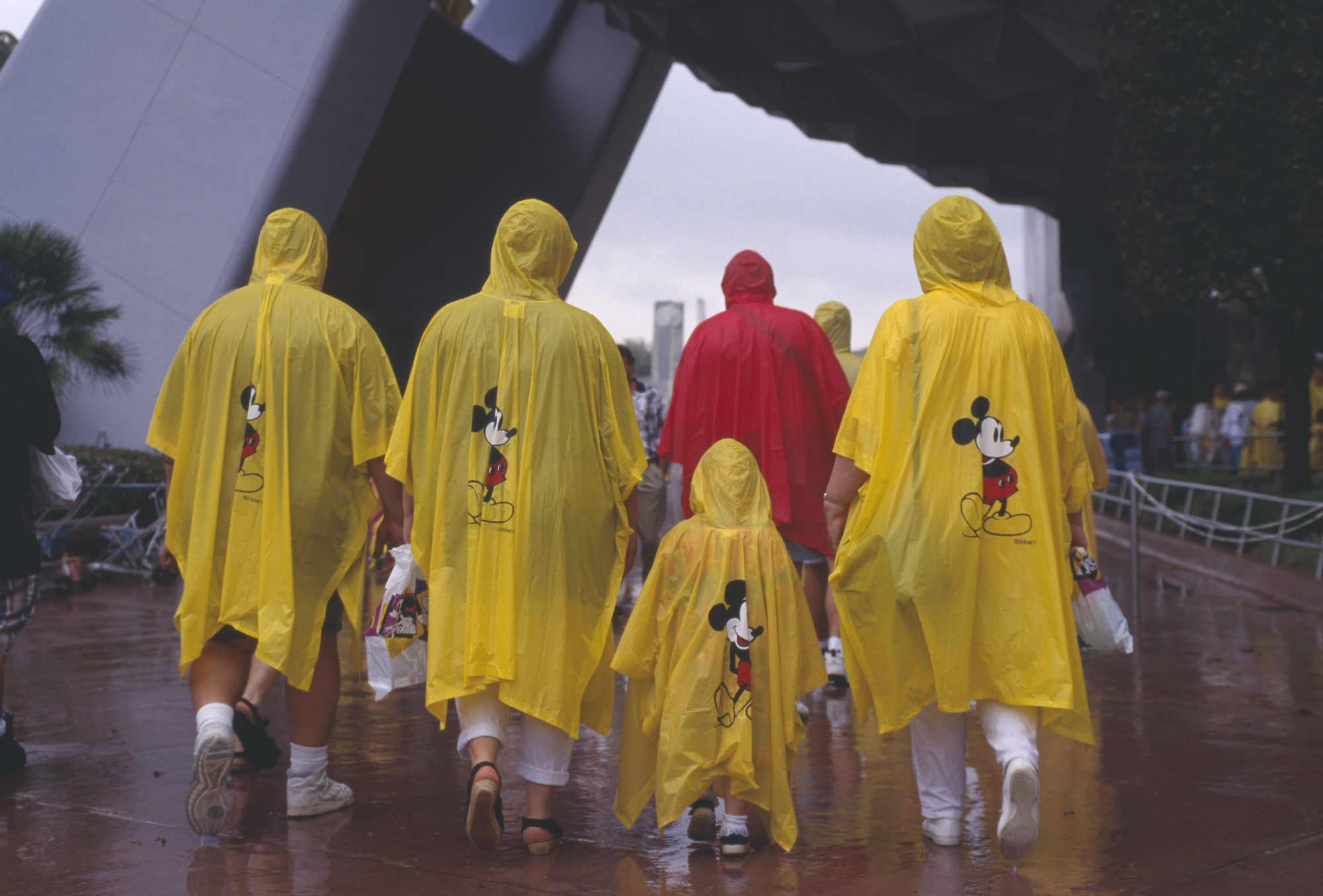 Family in Mickey Ponchos at Disney in Rain