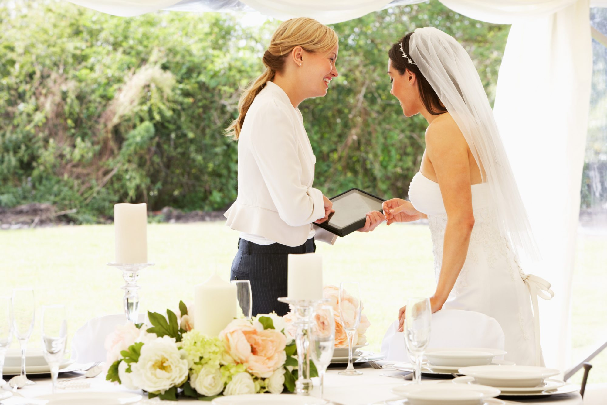 Wedding Planner and Bride at Reception