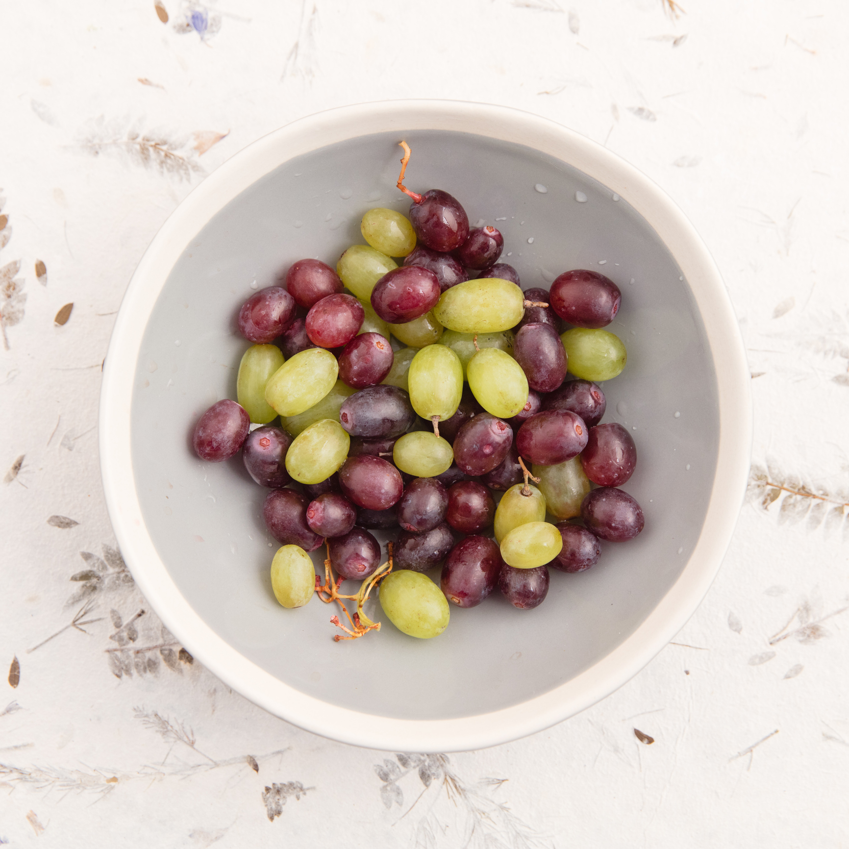 Bowl of Red and Green Grapes