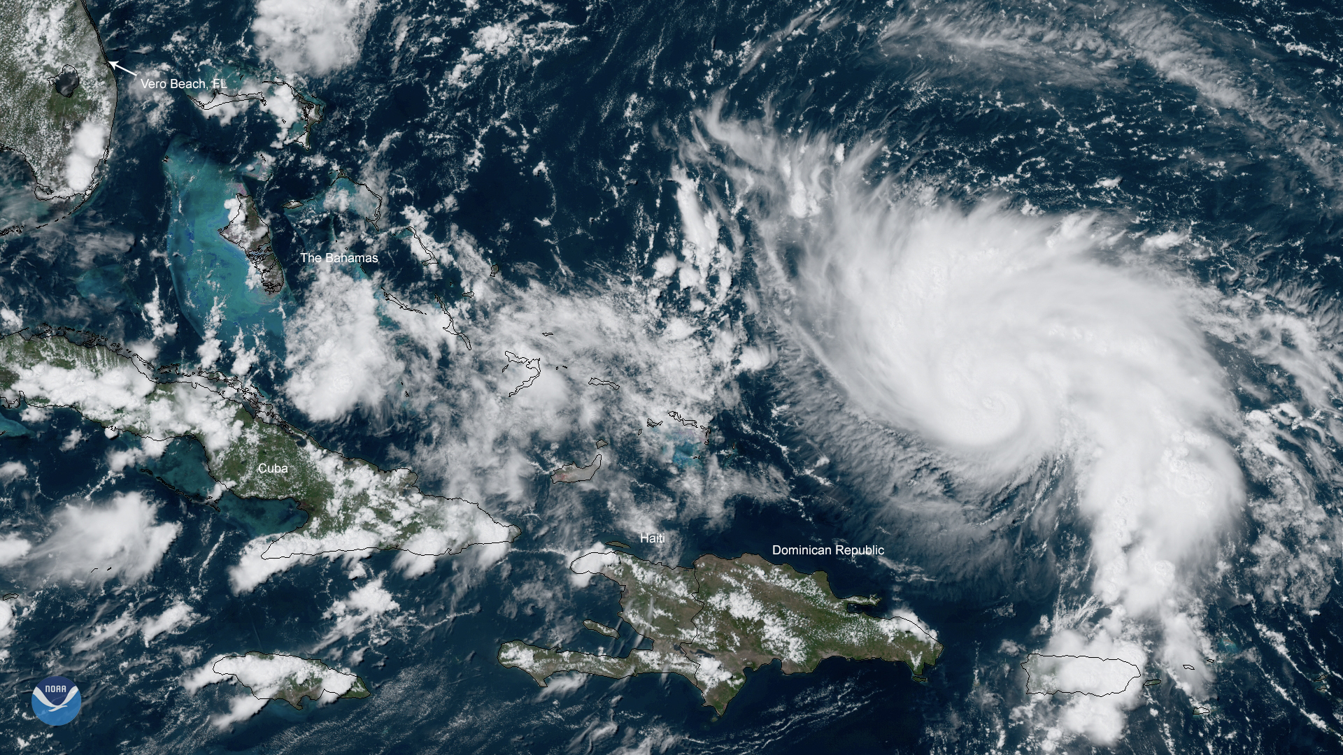 A satellite image of Hurricane Dorian, which is expected to cause tropical-storm-force winds in Florida over the weekend