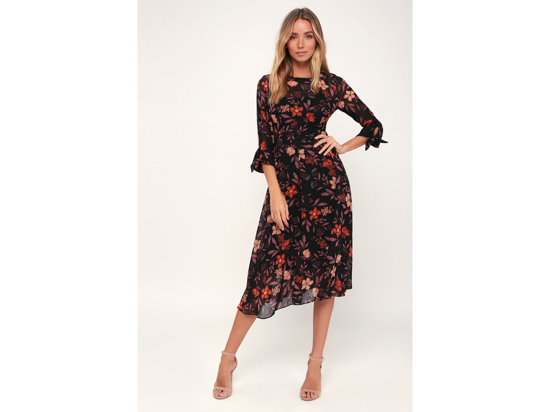 I. Madeline Black Floral Print Midi Dress