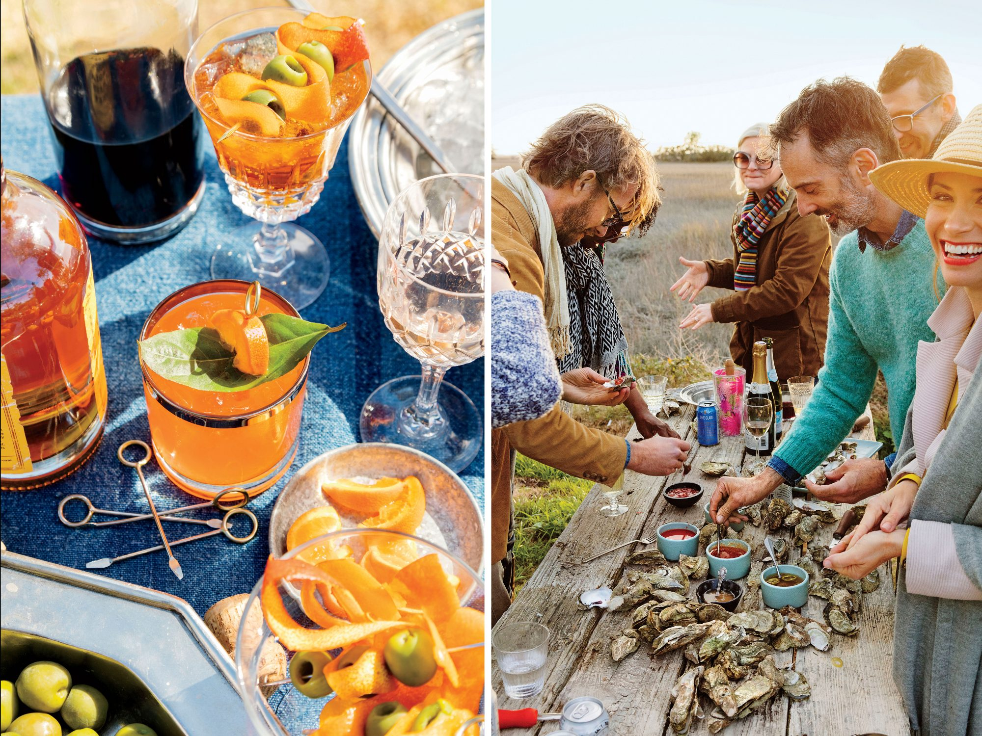 Steven Satterfield Oyster Roast with Friends Off Tybee Island, GA Whiskey Sour and Oyster Shucking