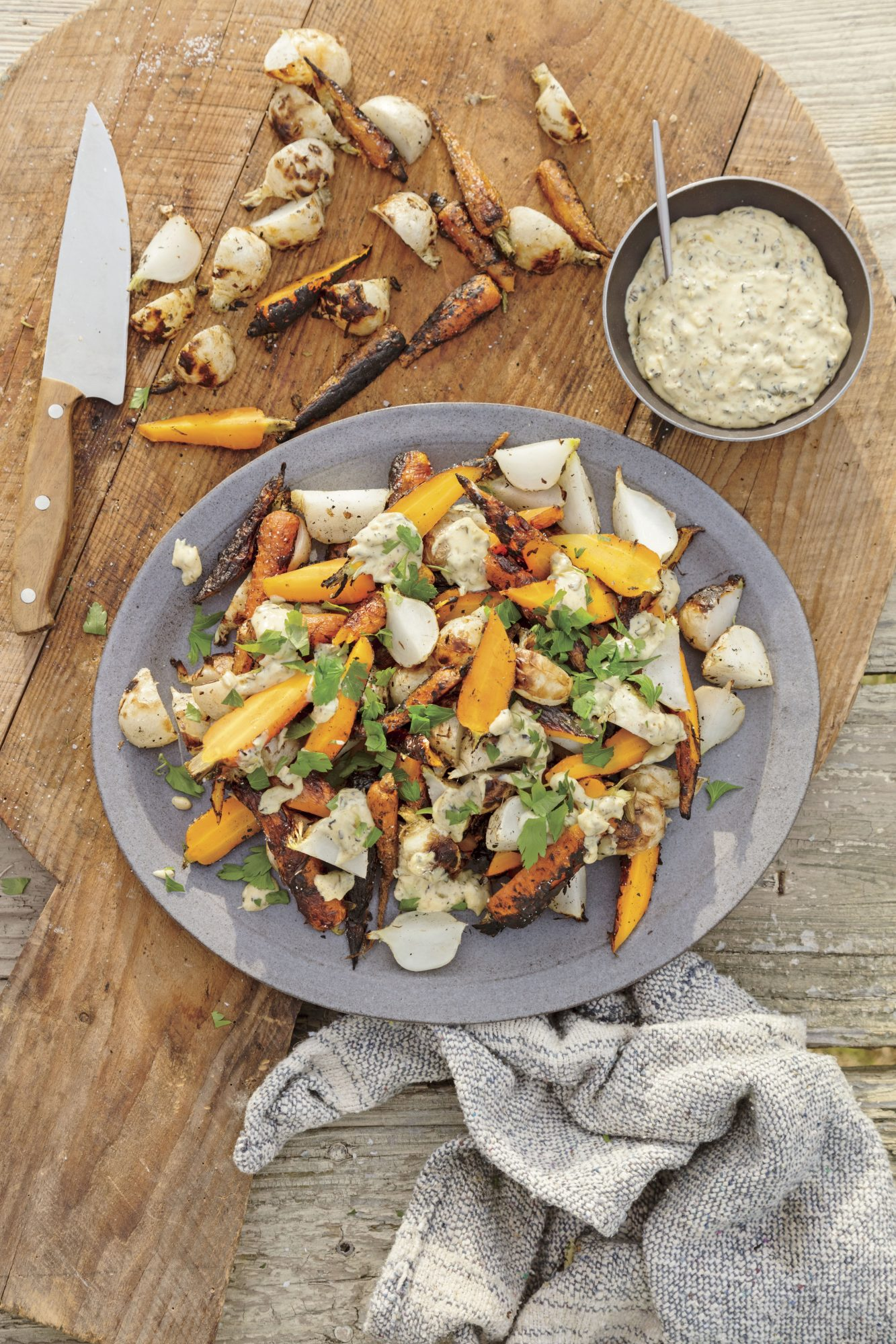 Grilled Root Vegetables with Charred Scallion Aioli