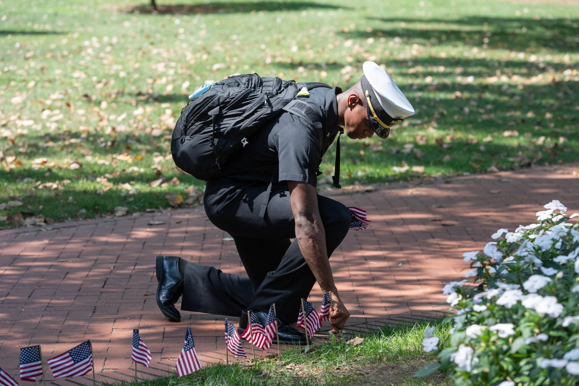 U.S. Naval Academy Midshipman Plants Flag for 9/11 Anniversary