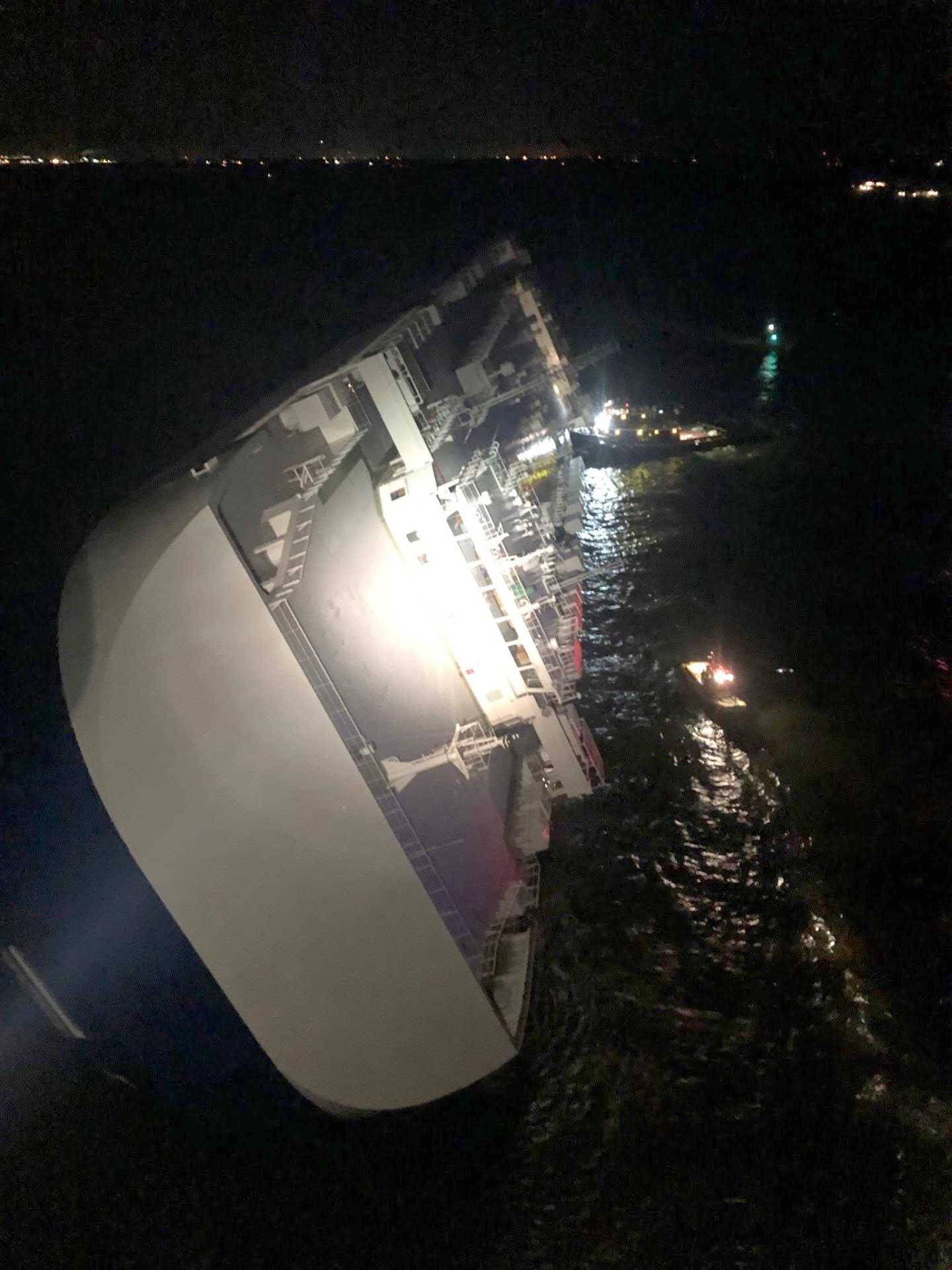 4 Crew Members Missing After Cargo Vessel Overturns and Catches Fire Near Georgia Coast
