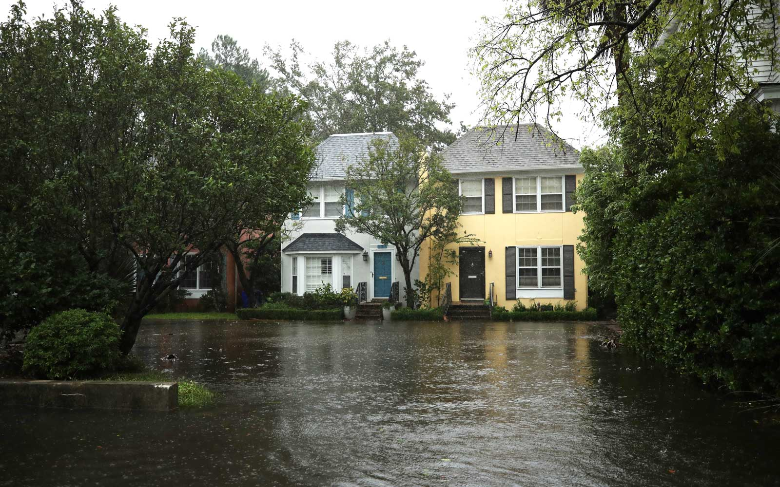 A flooded street is seen as Hurricane Dorian started to be effective in Charleston, South Carolina, United States on September 5, 2019.