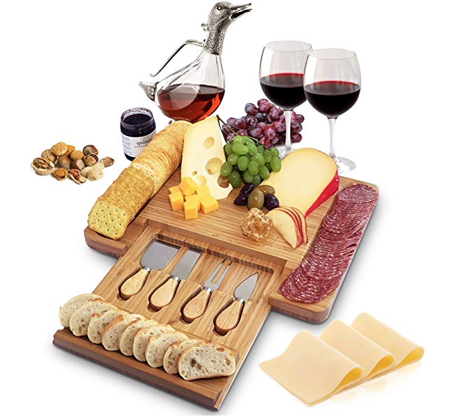 Cheese Board and Cutlery Set with Slide-out Drawer
