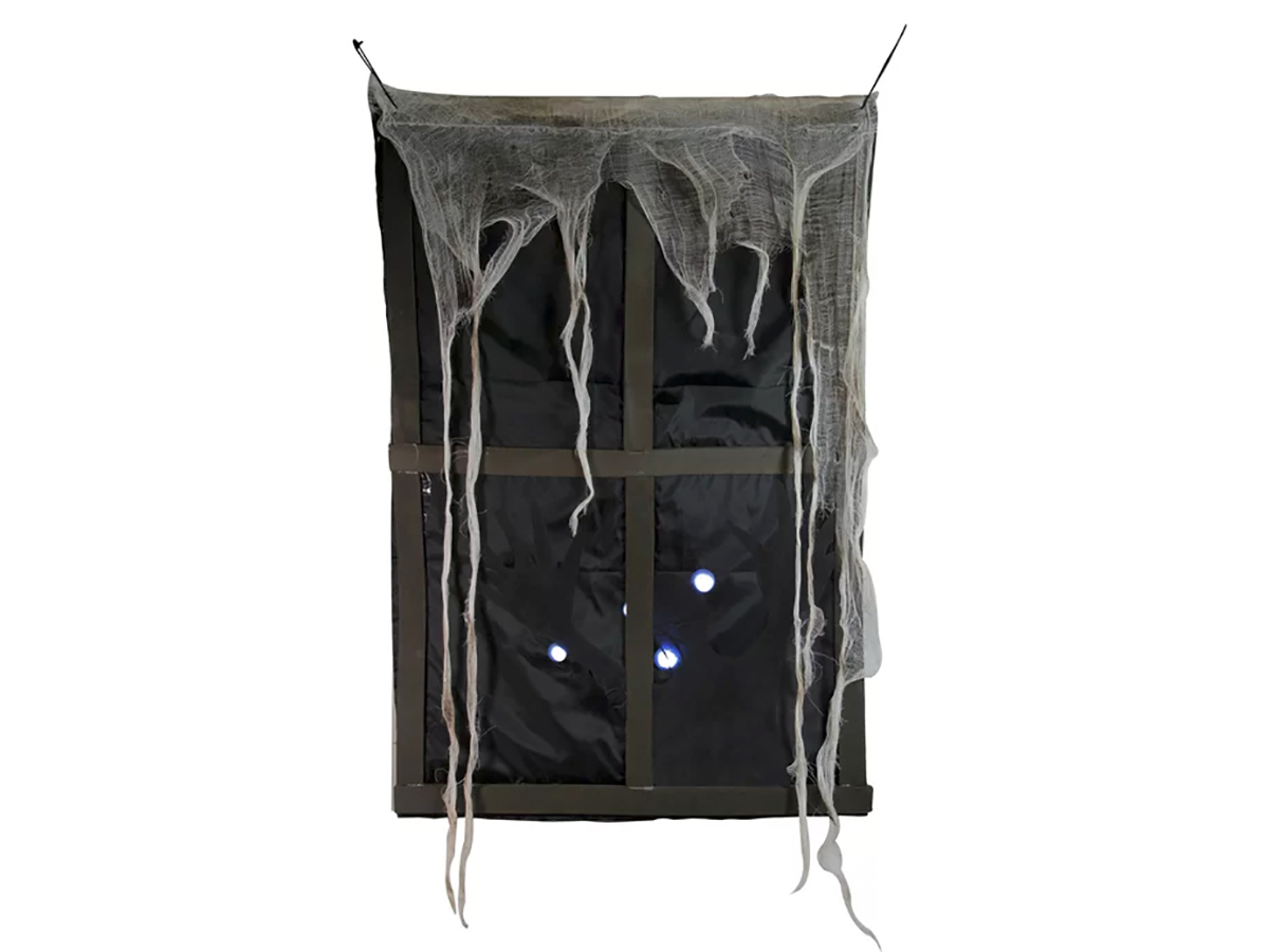 Lighted Ghostly Faux Window with Sound and Tattered Curtain Halloween Decoration