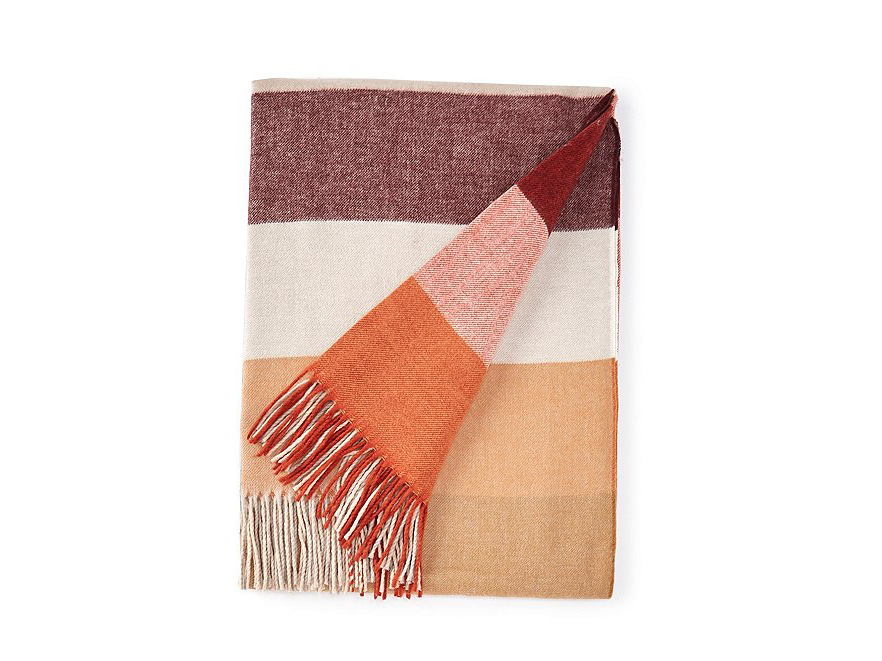 RX_1909 Throw Blankets_Southern Living Festive Fall Collection Copeland Ombre Block Stripe Acrylic Throw