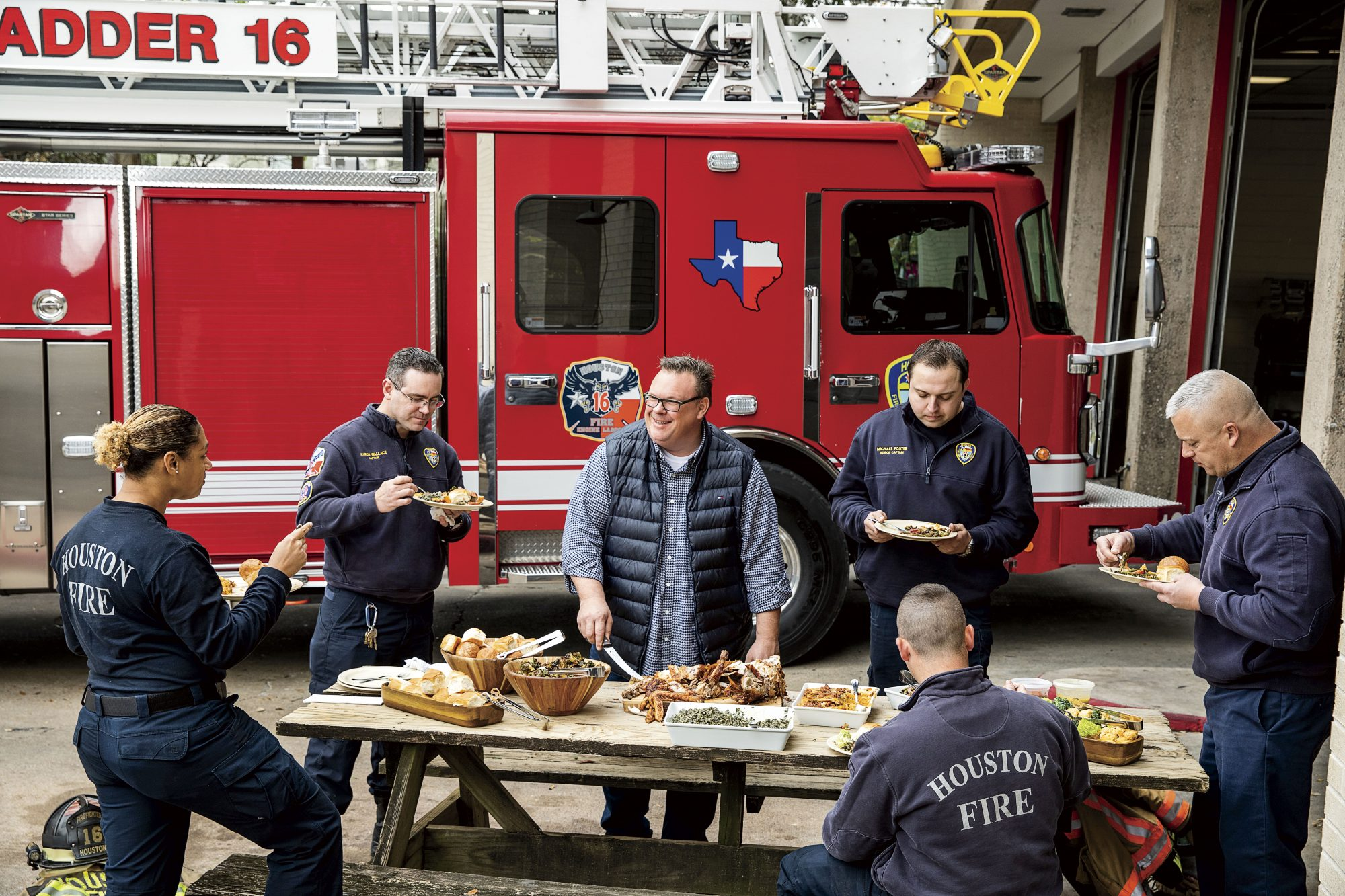 Chris Shepherd at Houston Firefighters on Thanksgiving