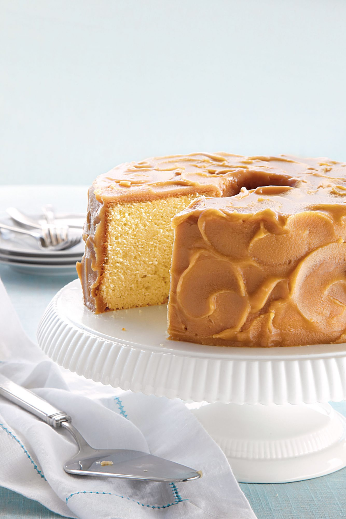Caramel-Frosted Pound Cake