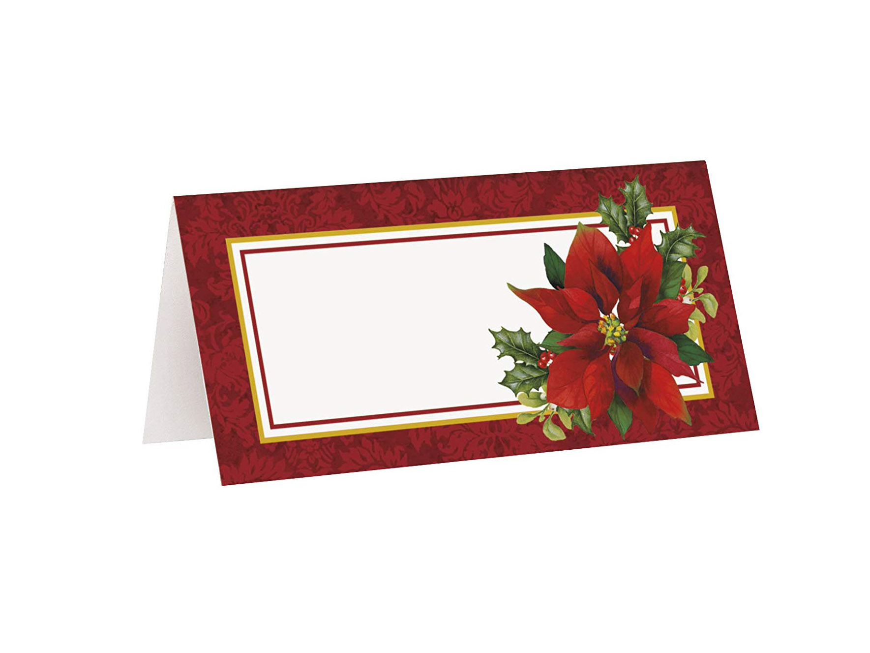 Poinsettia Holiday Place Cards