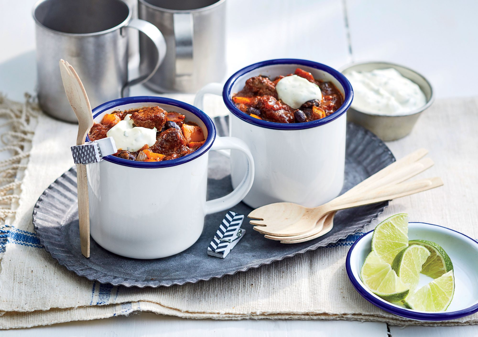 Brisket-and-Black Bean Chili with Cilantro-Lime Crema Recipe