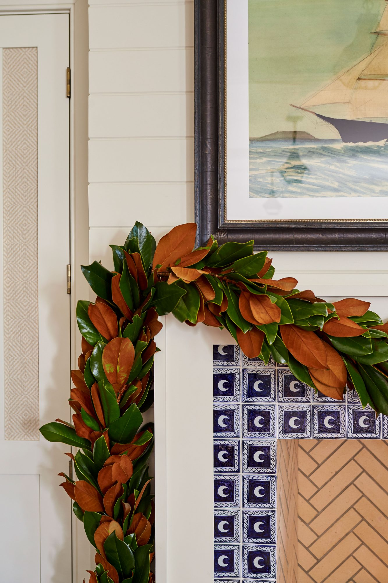 Andrew Howard's Home Decorated For Christmas Fireplace with Magnolia Garland